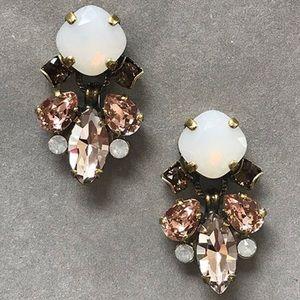 Sorrelli White Quartz & Pink Peony Earrings